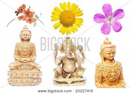 holy indian figures and floral elements against white background