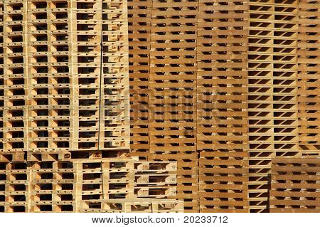 Many Wooden Pallet Store On Factory Yard