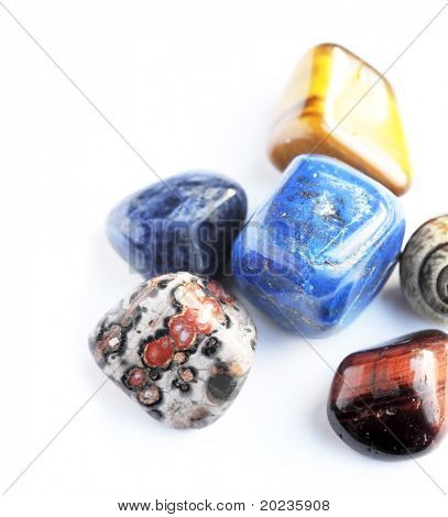beautiful stones against white background