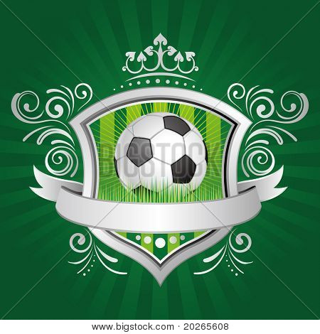 soccer,shield,crown,green background