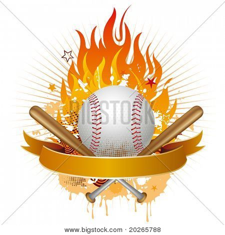 baseball,flames,design element