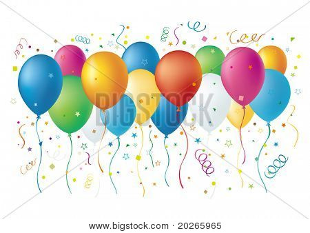 balloons,confetti,star,white background