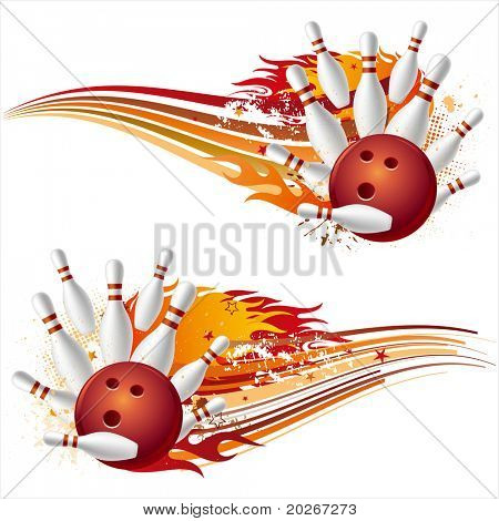 Постер, плакат: Боулинг Спорт элемент с огнем, холст на подрамнике