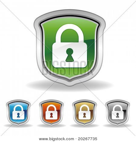 vector shield and lock icon set