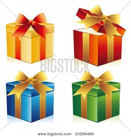 caja de regalo de vector con cinta