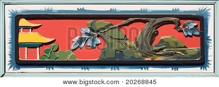 Vector element - Old Chinese style woodcarving of window in a temple.