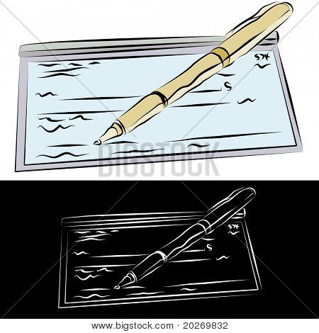 An image of a checkbook and pen line drawing.