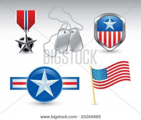 Military medal, dog tags, american flag, and military pins