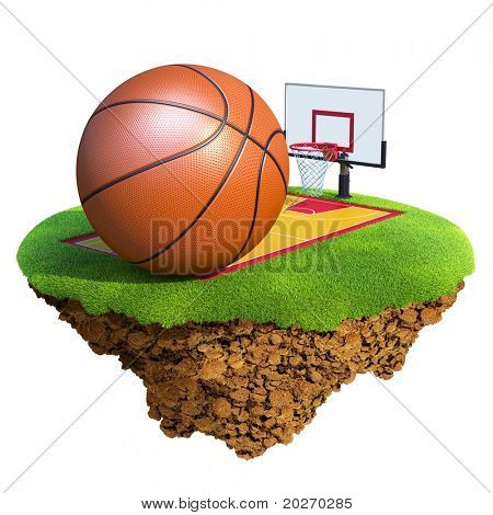 Basketball ball, backboard, hoop and court based on little planet. Concept for Basketball team or competition design. Tiny island / planet collection.