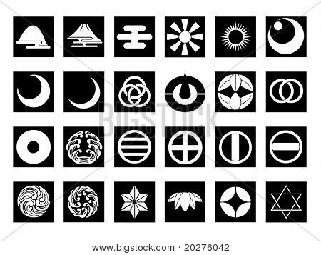 Abstract icons set #8. Isolated, black against white background
