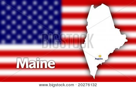 Maine state contour with Capital City against blurred USA flag
