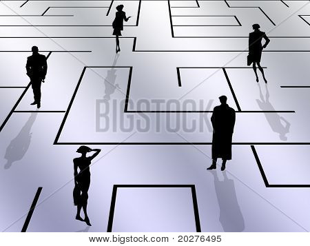 Labyrinth background with people silhouettes