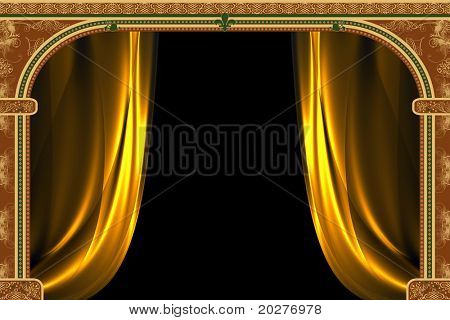 Arch with ornaments and curtain