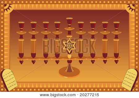 Decorative Menorah and stylized plates with 10 God's commandments