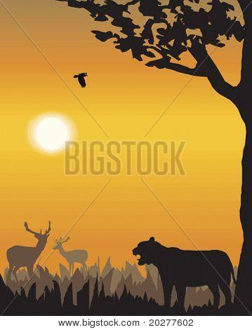 Vector evening landscape illustration with wild animals