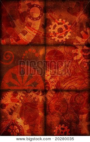 Abstract decorative illustration. Grunge, aged version, grainy background.
