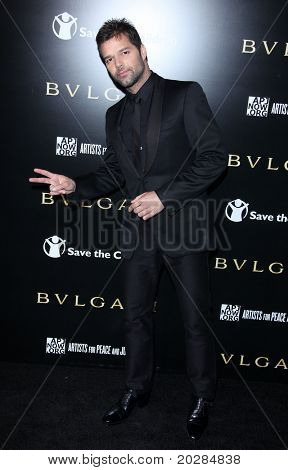 LOS ANGELES - JAN 13:  Ricky Martin arrives to Bvlgari Hosts Funraiser for Save The Children  on January 13, 2011 in Los Angeles, CA.