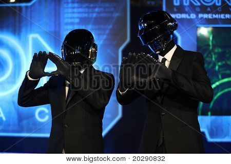 LOS ANGELES - DEC 11:  Daft Punk arrives to the 'Tron: Legacy' World Premiere  on December 11, 2010 in Hollywood, CA