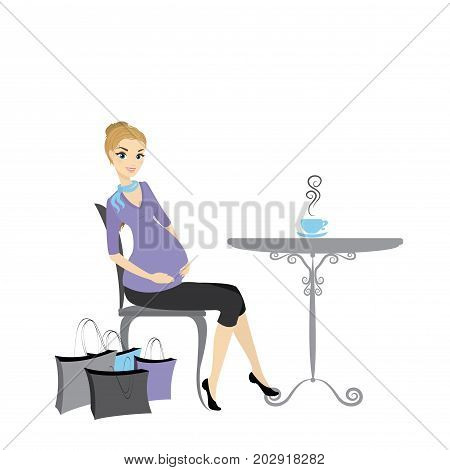 Pregnant Woman Sitting At The Table With Shopping Bags
