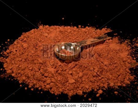 Powdered Cocoa With Silver Teaspoon