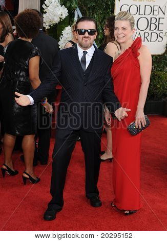 LOS ANGELES - JAN 16:  Ricky Gervais & Wife arrives to the 68th Annual Golden Globe Awards  on January 16, 2011 in Beverly Hills, CA
