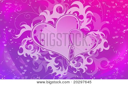 Background for valentine in delicate colors with hearts in the center of the composition