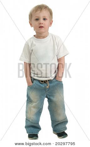 Portrait of a boy three years, in full growth. He looks straight, serene look. Isolated over white