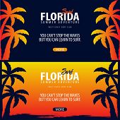 Florida Surfing Graphic With Palms. Surf Club Vector Banner. poster