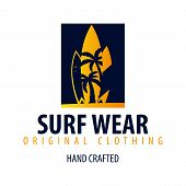 Surfing Logo And Emblems For Surf Club Or Shop. Vector Illustration. poster