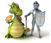 Knight and dragon - 3D Illustration poster