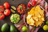 mexican guacamole and salsa dip, nachos tortilla chips poster