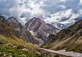 Landscape Of Beautiful High Fan Mountains In Tajikistan poster