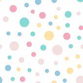 Постер, плакат: Colorful Polka Dots Seamless Pattern On White 9 Background Marvelous Classic Colorful Polka Dots Te
