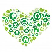 image of heart shape  - green heart illustration - JPG