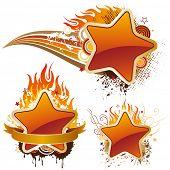 Постер, плакат: Векторная Иллюстрация звезды и пламени