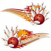 bowling sport element with flames