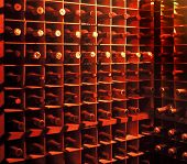 pic of wine cellar  - bottles of wine in a cellar - JPG