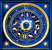 image of zodiac sign  - Blue zodiac clock with gold deatail and decoration - JPG