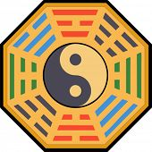 Vector Yin and Yang and bagua illustration