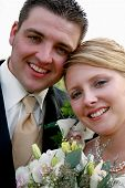 stock photo of married couple  - beautiful portrait of a young just married couple - JPG