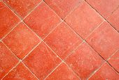 Colorful Orange Outdoor Floor Tiles Close Up. poster