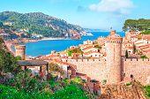 Spain.  Catalunya. Tossa De Mar. Aerial And Panoramic View Of Fortress Vila Vella And Badia De Tossa poster