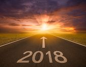 Empty road heading new year 2018 poster