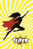 Female Super Hero Silhouette And Text Super In Retro Comic Pop A poster