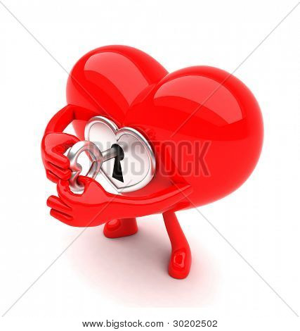 Heart shaped mascot with lock unlocking itself with a key