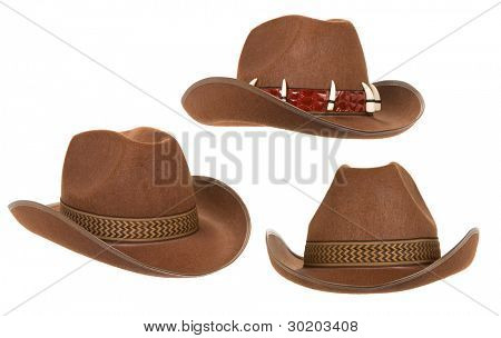 collage of hat isolated on white background