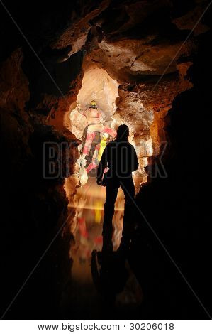 Cave passage with cavers