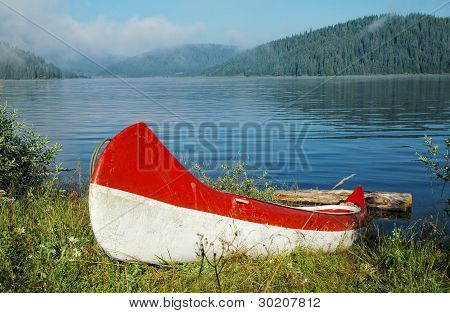 Canoe near the lake