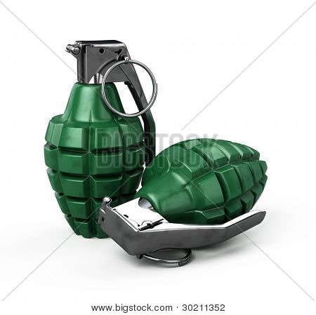 Two mk-2 hand grenade isolated on white - 3d render
