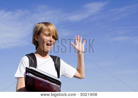Happy School Child Or Student